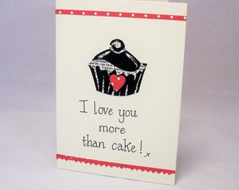 Love you more than cake card, cake card, anniversary card, love card, cake valentine card, funny valentine card, cupcake card