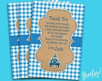 Little Blue Truck Thank You Card, Little Blue Truck Birthday Favor Card, Little Blue Truck Party Card, Little Blue Truck Printable Supplies
