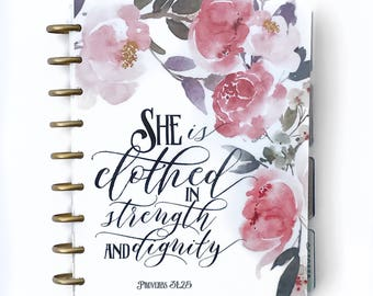 "Happy Planner Cover Set: ""Dignity and Strength"", 10 Mil Laminated"