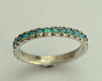 Silver opals ring, Eternity ring, boho ring, unique silver ring, stacking ring, silver wedding band, October birthstone - Eternity R0911X