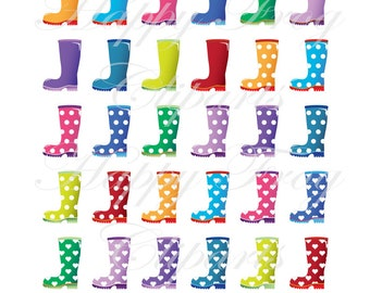 Rain boots - HFC 023 - Clipart,Rain boots, , Digital File, Instant Download, Comercial Use