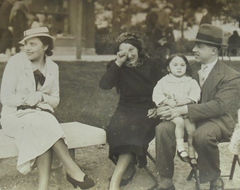 Vintage French Photo - Family Sat Together in a Park
