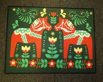 Scandinavian Swedish Dala Horses  Rug ~  Door Mat #432
