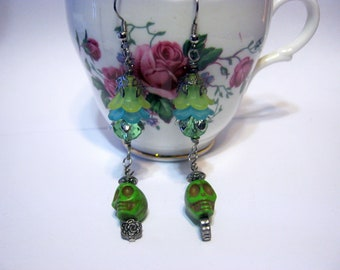 Flower Sugar Skulls- Day of the Dead- Green Gothic Punk Earrings