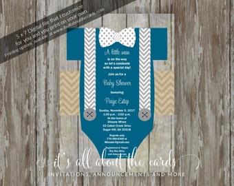 "Baby Shower invitations - Digital file ""Teal Baby Boy Shirt"" design"