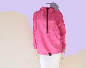 RAD 90's Vintage Bright Neon Pink 'Shell Shock'  Baja Surf Zip Hoodie Windbreaker