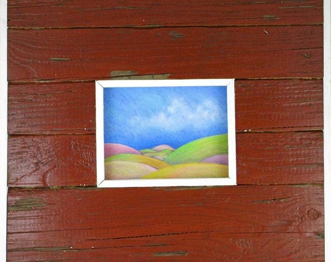 "Original Art - Pastel Landscape - Frame Repurposed Wood - Hurricane Katrina Frame - Red - Handmade - ""Rolling Hills"" - Free Priority Ship"