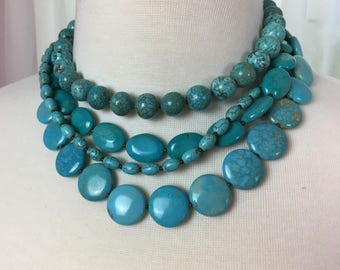 Chunky Turquoise Multi strand beaded necklace, Layered Boho Jewelry, Gift for Women, Statement Necklace