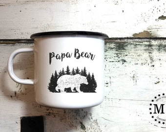 PAPA BEAR MUG - Enamel Mug, Papa Mug, Father Mug, Dad Mug, Daddy Mug, Hand Lettered Mug, Calligraphy Mug, Personalized mug, Custom Mug