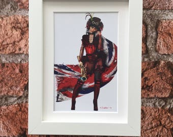 Steampunk print, victoriana character, fantasy illustration, female form, framed print, signed by the artist, ready to hang