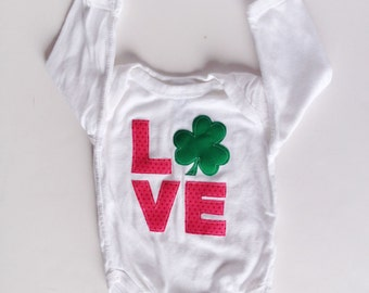 LOVE Shamrock Bodysuit, Shamrock Shirt, St Patrick's Day Baby Girl