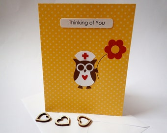 Get Well Card - Handmade Get Well Card - Homemade Greeting Card - Owl Get Well Card - Thinking Of You Card - Owl Card - Cute Get Well Card