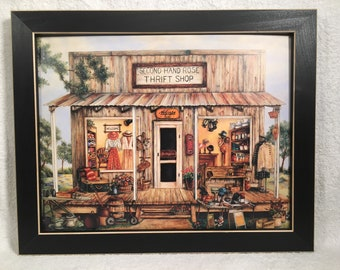 Thrift shop print country primitive farmhouse decor Wall hanging art picture