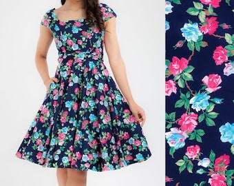 Vintage Dress Rose Floral Dress Bridesmaid Dress Vintage Swing Dress Holiday Dress Prom Party Dress Plus Size Dress Pinup Dress 50s Dress