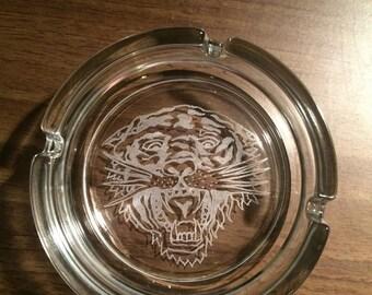 Engraved Glass Ashtray