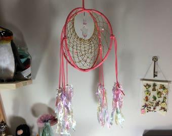 No Feather Dream Catcher / Pink Double Dream Catcher / Home Decor