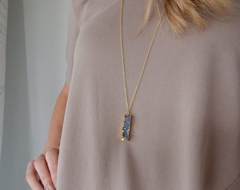 Gold Druzy Necklace | Modern Necklace Long Crystal Necklace, Long Necklace, Druzy Pendant Necklace, Boho Necklace Grey Druzy Necklace
