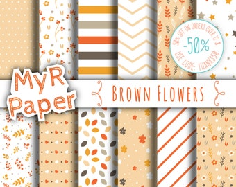 "Digital Paper: ""Brown Flowers"" pack of backgrounds with floral, leaves, stars and hearts"