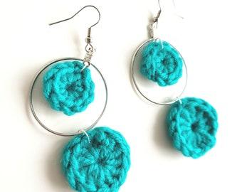Teal Earrings Crochet Earrings hoop earrings Teal crochet Earrings Teal hoop earrings Long earrings Teal long Earrings Lightweight Earrings