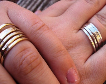 12 ring set - Jewelry, rings, stacking bands, mixed set, sterling silver, argentium, 14kt gold filled, 16g,