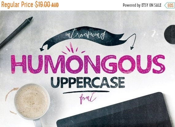 70% OFF Sale Digital Font Humongous - Digital Typeface - Hand drawn block font - Instant Download