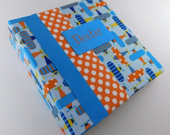 Boy Baby Book Photo Album Baby Memory Scrapbook 4x6 5x7 8x10 Picture Pregnancy Journal Airplane Orange Blue Personalized Shower Guest Gift