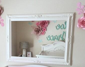 "FRENCH COUNTRY NURSERY Mirror 44""x32"" Baby Girl Nursery Vanity Mirror Decor Baroque Shabby Chic Mirror Wall Ornate Baroque Mirror Decorative"