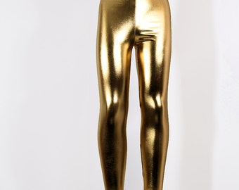 Shiny Metallic Gold Stretch Lycra Leggings Pants Child Toddler Kids All Sizes MTCoffinz