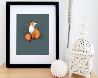 Illustrated BLUE FOX | art print | animal drawing | wall art | Valérie Boivin | 8'' X 10''