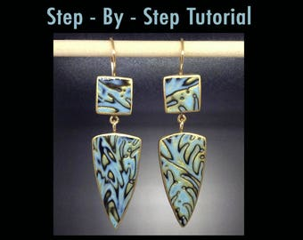 Polymer Clay Earrings Tutorial with Wirework and Mokume gane