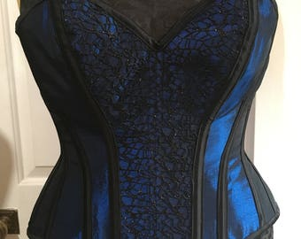 "Blue and black overbust corset (30"" waist)"