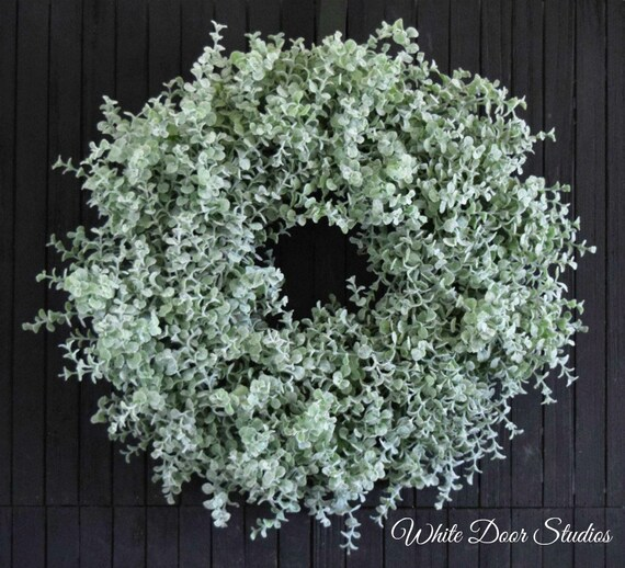 "Ready to Ship 18"" Farmhouse Boxwood Greenery Wreath for Front Door or Fireplace"