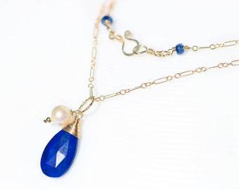 Lapis Pendant, Lapis Lazuli Pendant Blue Gemstone Pendant Lapis Necklace Lapis Teardrop Pendant Lapis Drop Pendant Gold Filled Pearl Pendant