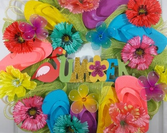 Flip flop wreath,Summer Wreath,Door Wreath,whimsical wreath,front door wreath,wreath with flip flops,wreath for front door.