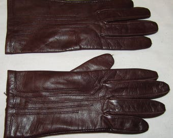 Fownes Vtg Brown Leather Driving Gloves Womens 7 1/2