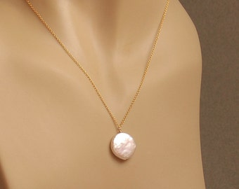 Freshwater Coin Pearl Necklace, Real Pearl Jewelry, Natural Pearl Bridal Necklace, Maid of Honor Gift, 14K Gold Filled, Single White Pearl