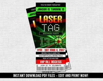Laser Tag Ticket Invitation Birthday Party (Instant Download) Editable and Printable PDF Files - Glow Lazer Tag