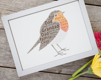Personalised Robin Red Breasted Bird Framed Word Art Cloud Gift