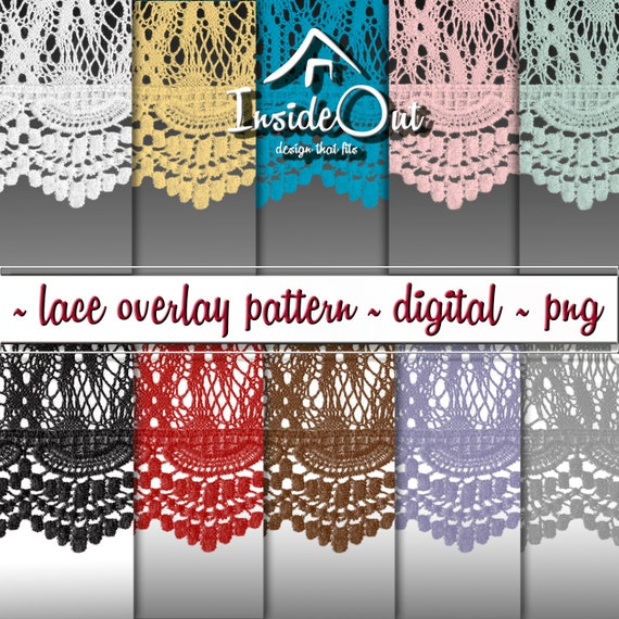 Lace Overlay Pattern Edge Border Frame PNG Clipart Crochet Seamless Digital Paper Texture Trim Scrapbook Black White Transparent Background From