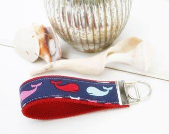Whale  KeyFob, Red whale Key Chain, Beach Wristlet Key Fob, Nautical  Wristlet Key Ring, Beach Hostess gift Keyring, keychain, Teacher Gift