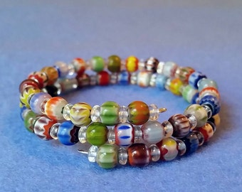 Multicolored Chevron Glass Beaded Wrap Bracelet, handmade memory wire bracelet