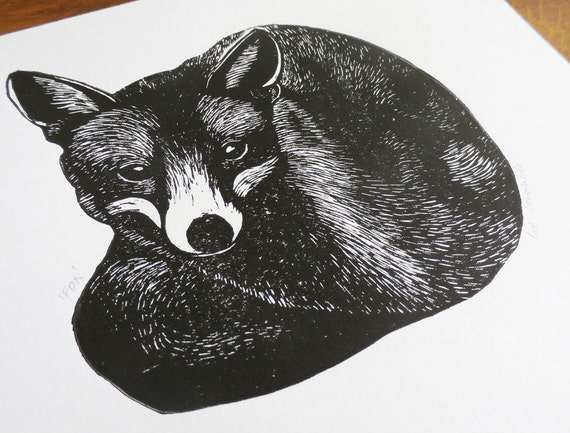 Fox, Original Linocut Print, Signed Open Edition, Free Postage in UK, Hand Pulled, Printmaking,