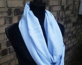 Light blue cotton lightweight infinity scarf