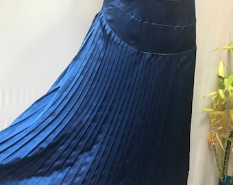 The most luxe silk Sapphire Blue pleated 80's skirt.