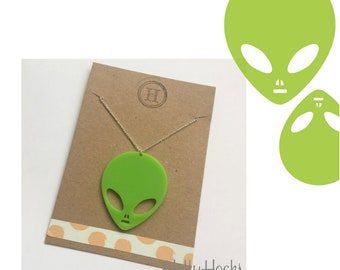 Lime Green Space Alien Martian Necklace Brooch