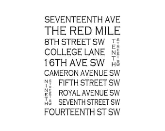 Calgary Alberta - Red Mile - Love This Place Street Name Art Print on Paper - Customize With Your Street Home Decor Canada TheJitterbugShop