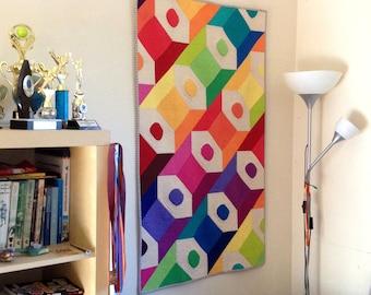 Colourful Pencils - Modern Quilt - Wall Hanging - Nursery Art