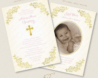 Gold Baptism Invitation Holy Cross First Communion Confirmation Christening pink purple mint blue digital printable custom invite jpeg pdf