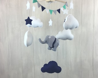 Baby mobile - elephant mobile - cloud mobile - navy and mint - baby crib mobiles - nursery decor - bunting - elephant nursery - star mobile
