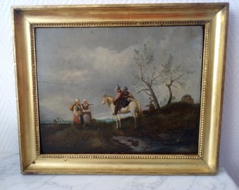 Painting oil on Panel jumper in a country landscape - 21128